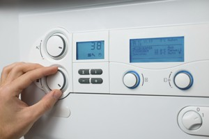 Control panel of the gas boiler for hot water and heating